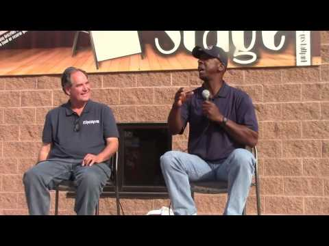 Willie McGee being interviewed by Rob Rains of STLSportsPage.com at Gateway Grizzlies Game  5-116