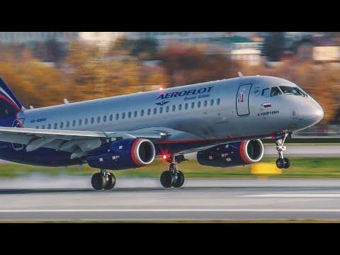 Красивые посадки самолетов с близкого расстояния на новую полосу 24R в аэропорту Шереметьево.10/2019