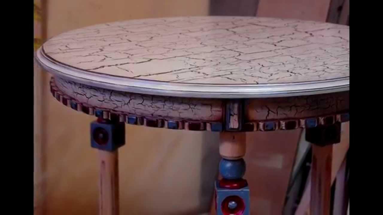 Круглый сосновый стол с резьбой. - YouTube