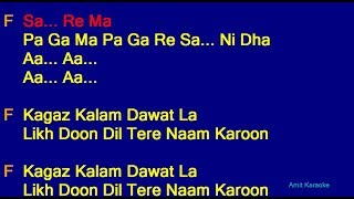 Kagaz Kalam Dawat La - Mohammed Aziz Shubha Joshi Duet Hindi Full Karaoke with Lyrics
