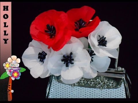 How to make paper flowers tutorial : Pretty Poppies