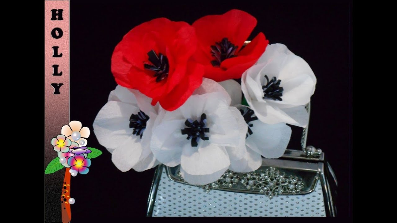 How to make paper flowers tutorial pretty poppies youtube mightylinksfo