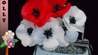 Tissue paper flowers tutorial : Pretty Poppies