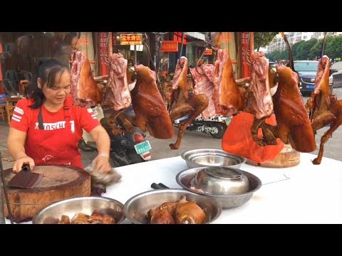 Dog meat street, selling 100 dogs a day, full of crispy dog meat