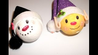 Polystryene ball-DIY Cristmas elf and snowman (ornament)-Great craft idea for kids