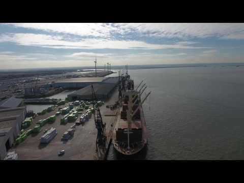 Grain ship being loaded at Peel Ports