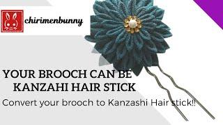 Your brooch can be Kanzashi hair stick!(Kanzashi hair stick converter(Gold)