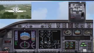 FSX LJ45 landing at Cancun International ILS 12R