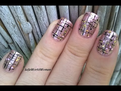 striped nails fall bronze