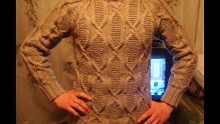"""Мужской пуловер спицами с рукавом """"реглан"""" Часть 1. Men's sweater knitting"""