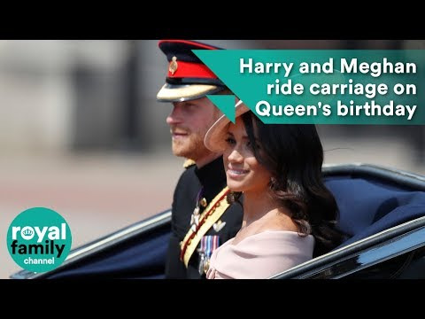 Prince Harry and Meghan ride carriage on Queen's birthday