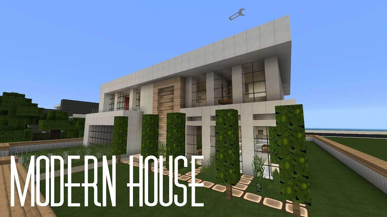 Minecraft pe house showcase modern house w flows hd for Modern house minecraft pe