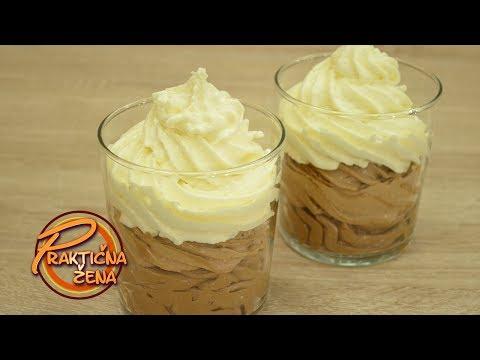 Praktična žena - Mus od bele, crne i mlečne čokolade u čaši (3 layers chocolate musse)