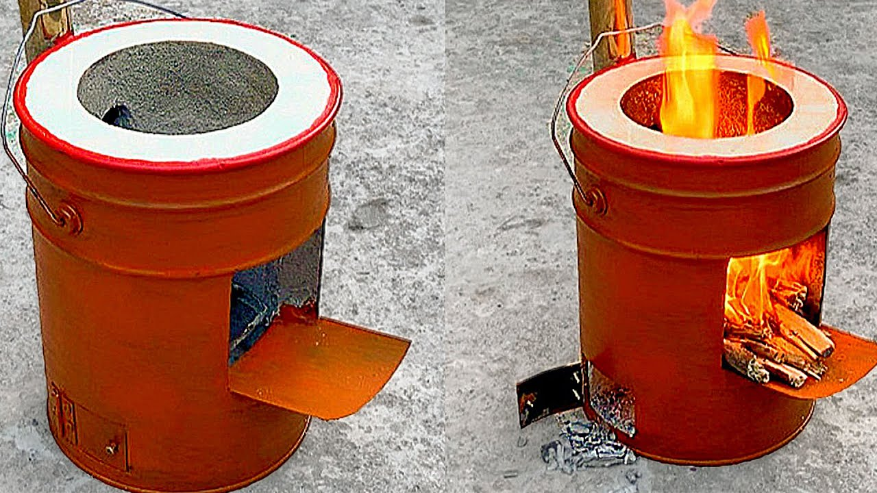 Amazing wood stove - Create wood stove from iron paint bucket