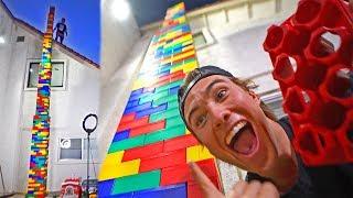 Built worlds tallest LEGO tower! *FELL ON US*