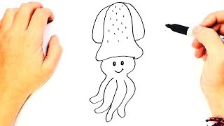 How to draw a Squid Step by Step | Easy drawings