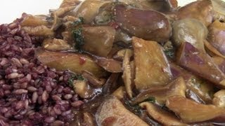 Stir Fry Eggplant And Mushrooms In Oyster Brown Sauce. Serve With 6 Grain Rice.