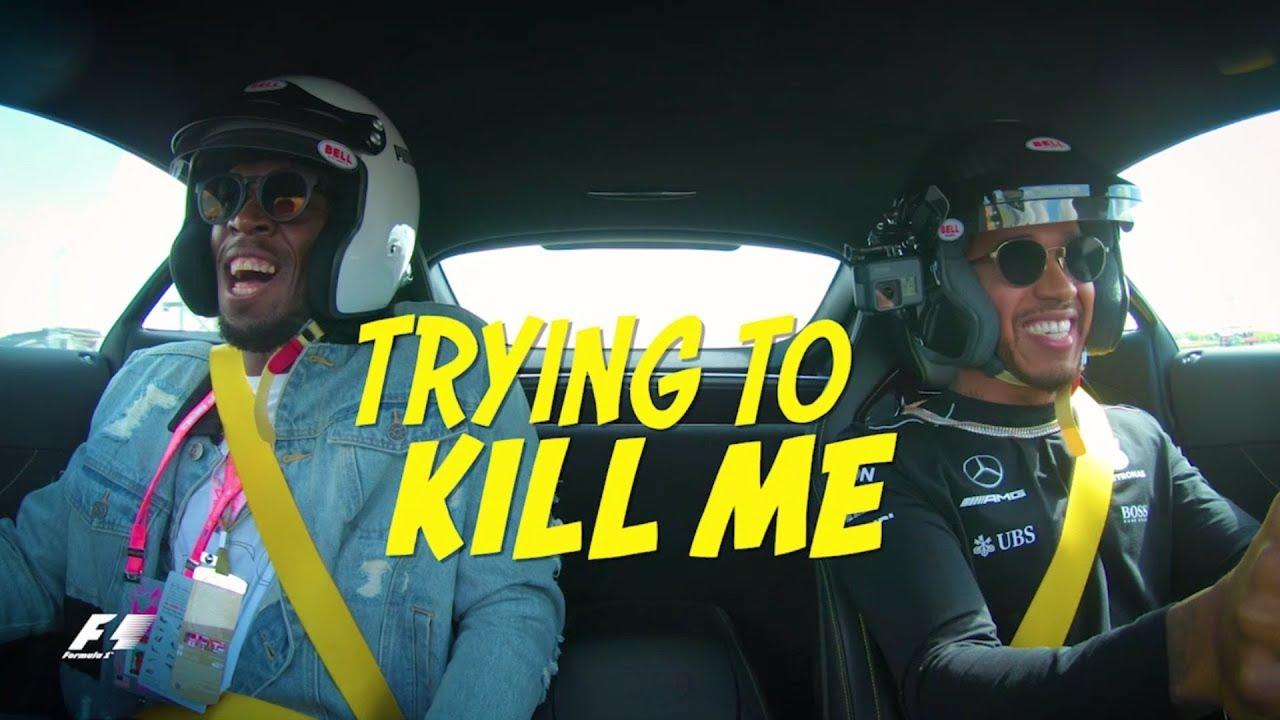 Lewis Hamilton vs  Usain Bolt - Crazy AMG Onboard Action in Austin!
