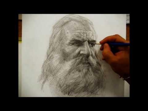 Drawing a portrait with pencil by Salim Rakkah