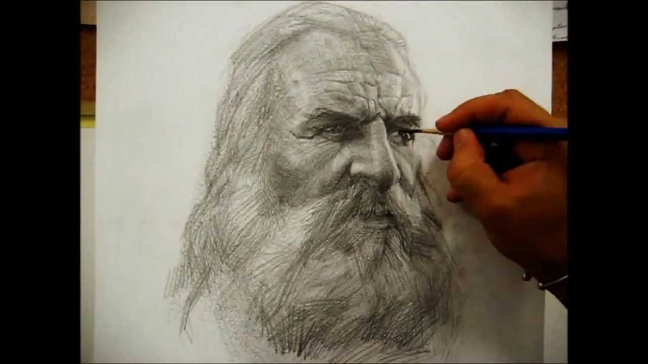 Drawing a portrait with pencil by Salim Rakkah - YouTube