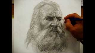Drawing a portrait with pencil by Salim Rakkah