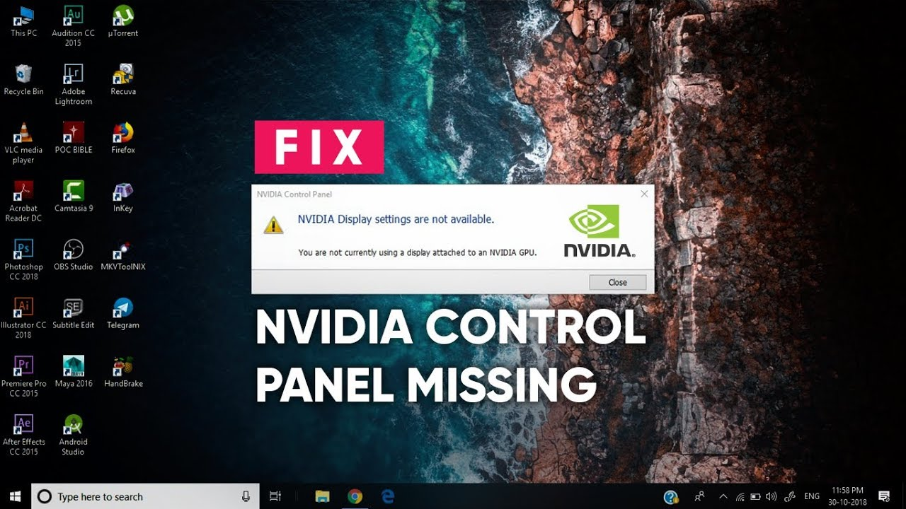 Nvidia display settings Not Available