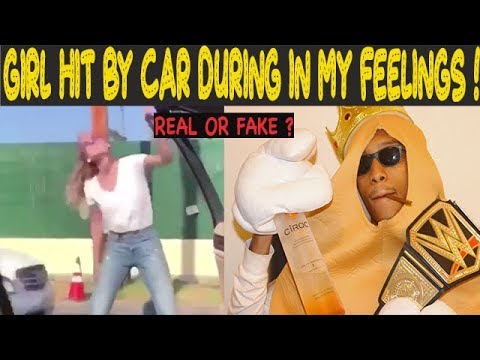REAL OR FAKE? Girl HIT By Car While Doing In My Feelings Challenge