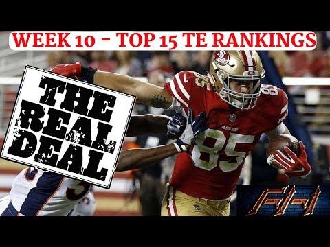 2018 Fantasy Football Lineup Advice  - Week 10 TE Rankings