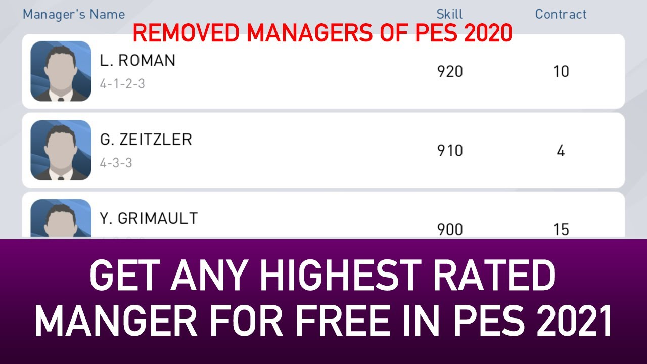 HOW TO GET HIGHEST RATED MANAGERS FOR FREE WITH PES 2021 UPDATE | PES 2020 MOBILE