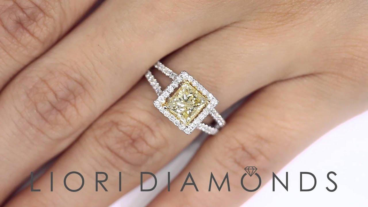 Fd549  241 Carat Fancy Yellow Princess Cut Diamond Engagement Ring 14k  Gold Pave Halo