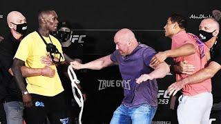 Коста и Адесанья чуть не подрались до боя / Тухугов - Даводу / Битва взглядов UFC 253 / НА РУССКОМ