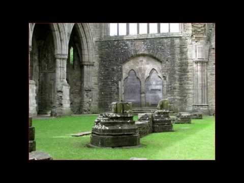 Tintern Abbey the border between Monmouthshire in Wales and Gloucestershire in England