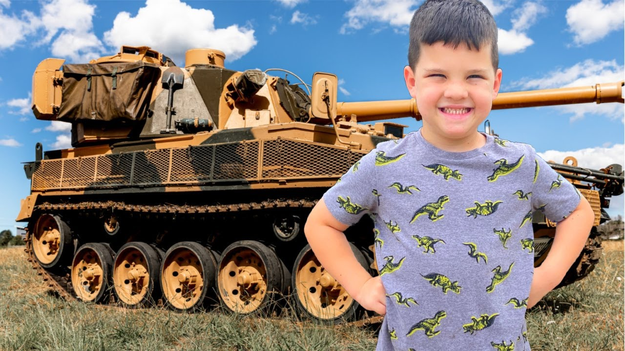 CALEB LEARNS about MILITARY VEHICLES! ARMY TRUCKS, AIRPLANES, TANKS, HELICOPTERS with MOM & DAD!