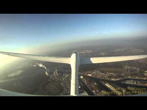 Glider Flight over Karlsruhe Germany Filmed from Tail