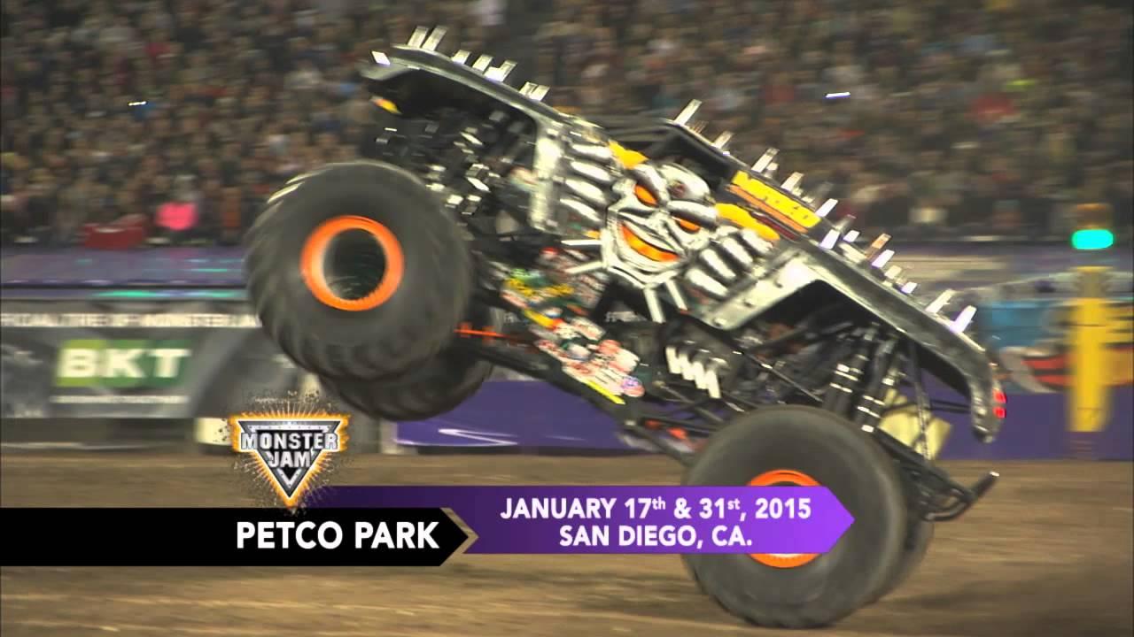 Monster jam roars into petco park in san diego in january 2015 youtube