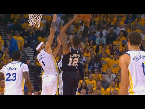 JaVale McGee Shuts Down LaMarcus Aldridge Then Kevin Durant Hits the 3 Pointer! Warriors vs Spurs