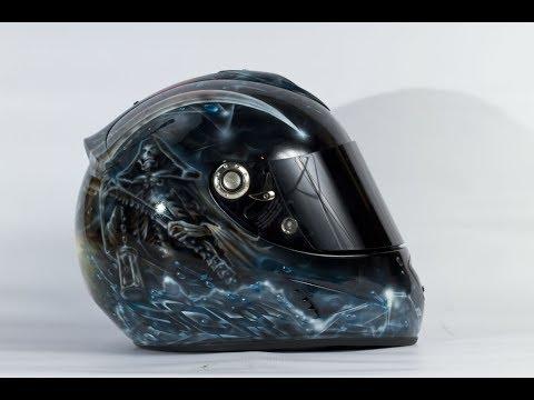 my custom airbrush painted motorcycle helmet jessica
