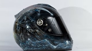 My custom airbrush / painted motorcycle helmet Jessica Rabbit & Grim Reaper (Shark RSR-2)