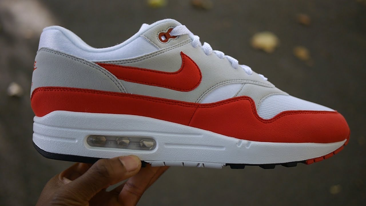 Letrista Padre fage incrementar  Air Max 1 OG Red Review & On Feet (30th Anniversary September 2017 Restock)  - YouTube