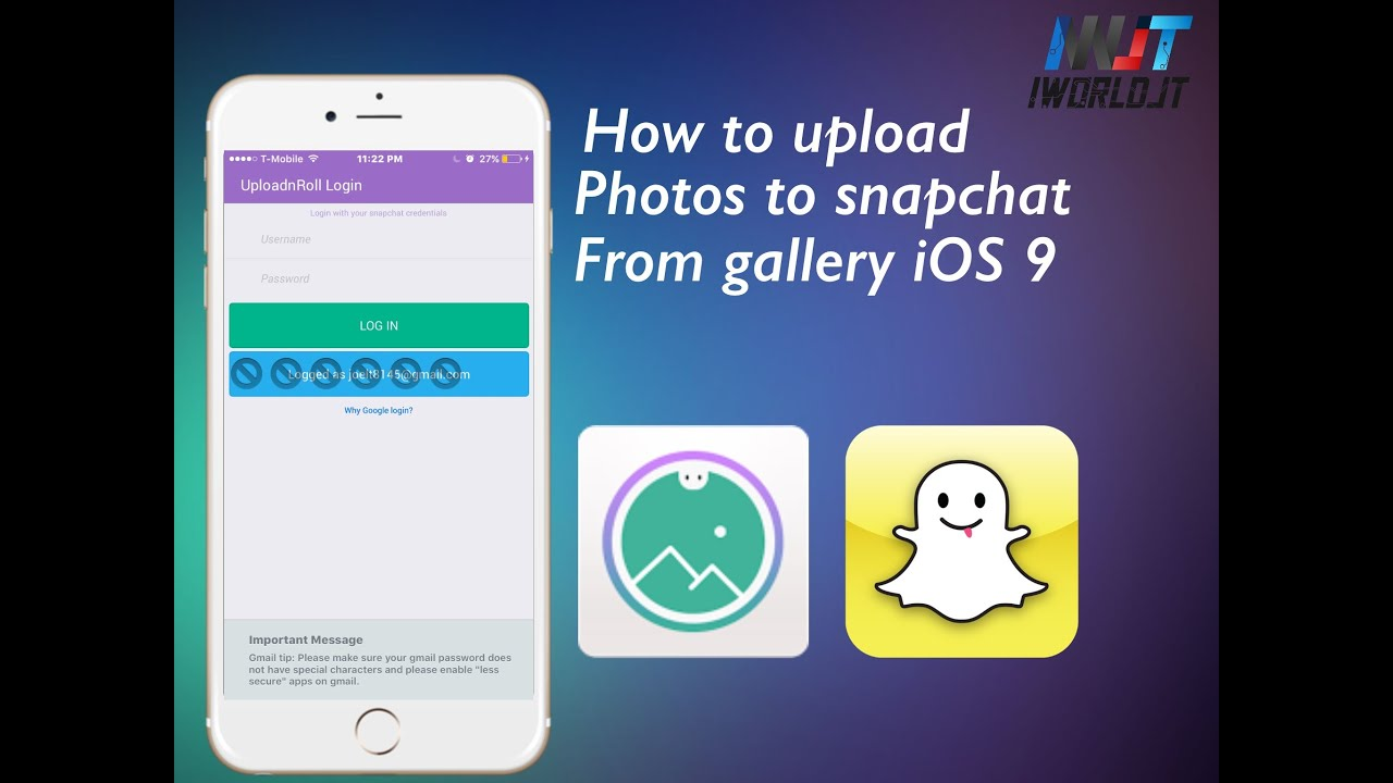 How To Upload Pictures To Snapchat From Photo Gallery Ios 902 (no  Jailbreak) Part