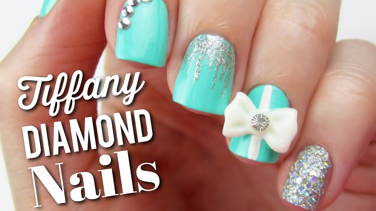 Tiffany Blue Diamond Nails + BIG NEWS! - YouTube