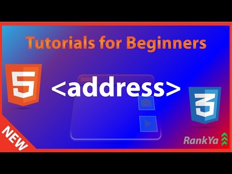 HTML5 Tutorials For Beginners HTML5 Address Element