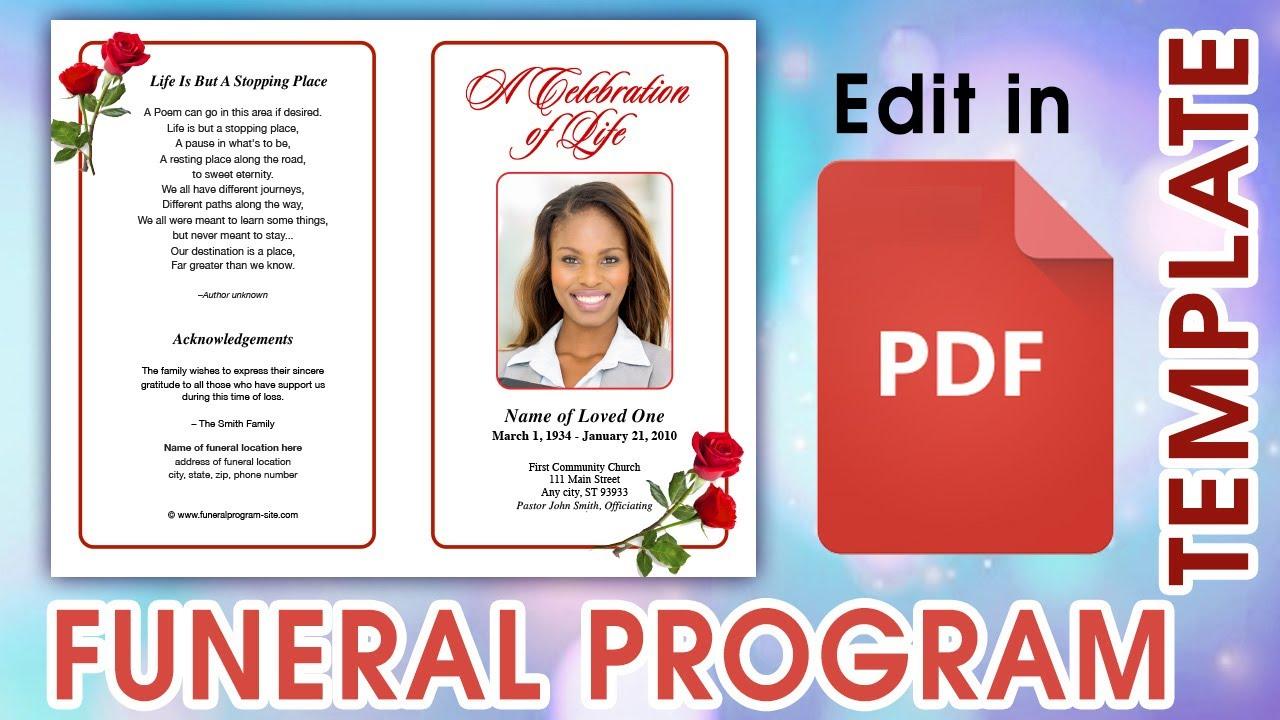 Editable PDF Funeral Program Templates Regarding Church Program Templates Word