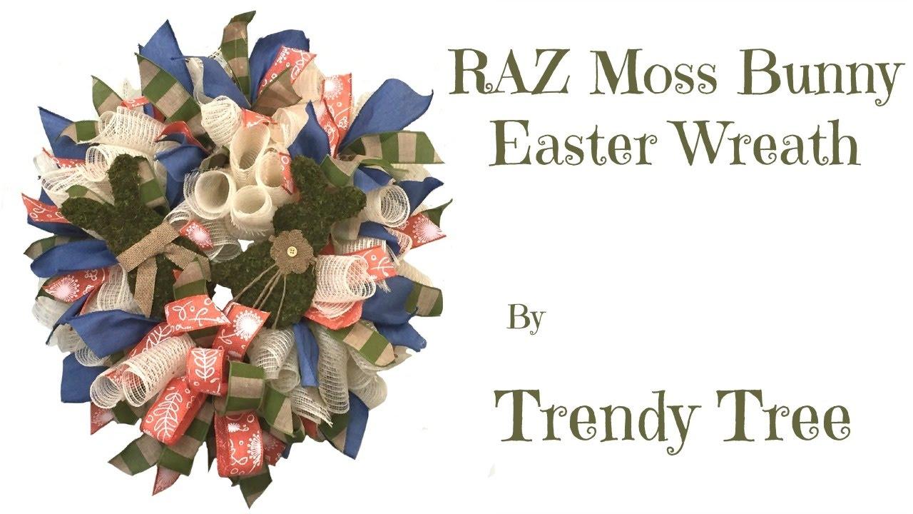 2017 RAZ Moss Bunny Pick Wreath Tutorial - YouTube