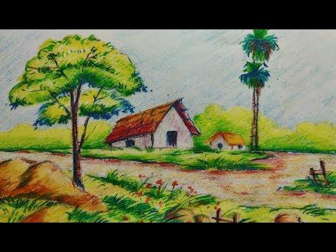 Easy village landscape//Drawing tutorial for kids