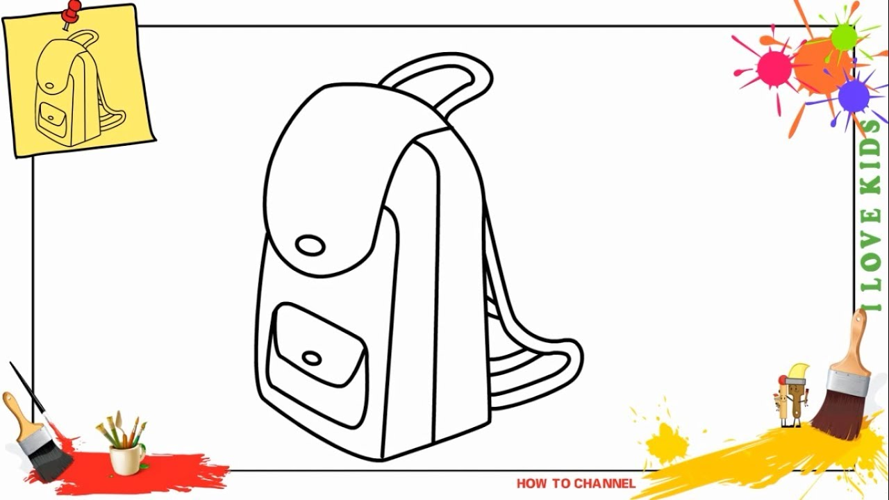 How To Draw A Shool Bag Easy Slowly Step By For Kids Beginners