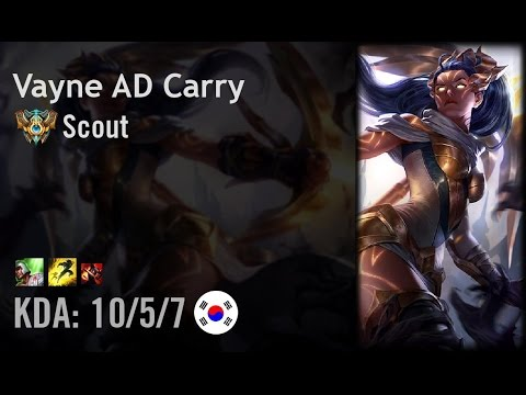 Vayne AD Carry vs Sivir - Scout - KR Challenger Patch 6.12