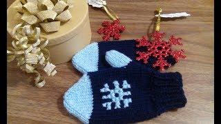 №1 Идея для Рождественско - НГ подарка. Часть 1 Варежки для ребенка 3-4 года.