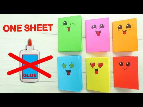 MINI NOTEBOOKS FROM ONE SHEET OF PAPER - NO GLUE. Easy DIY Kawaii Paper Book -  BACK TO SCHOOL