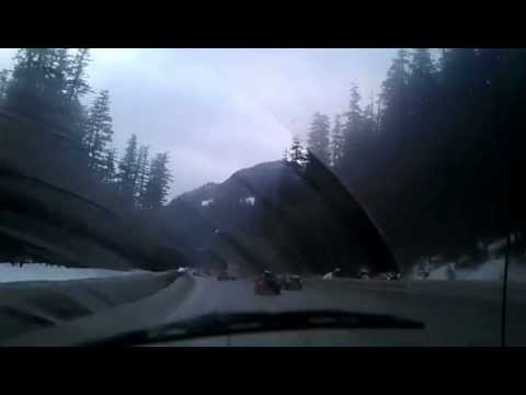 Driving on I90 east over Snoqualmie Pass